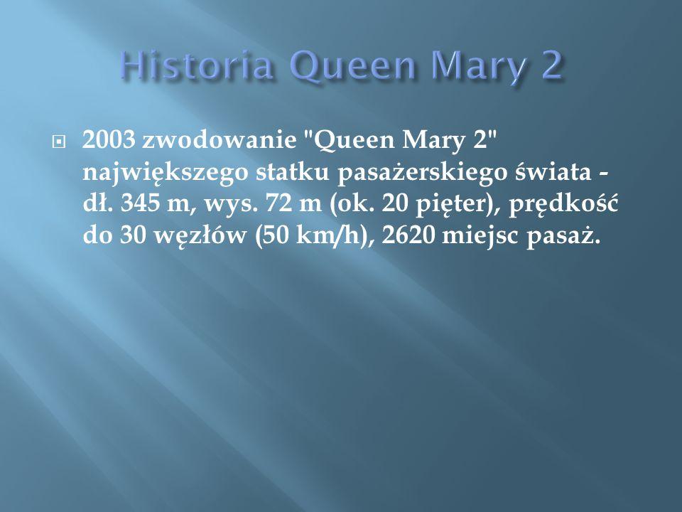  2003 zwodowanie Queen Mary 2 największego statku pasażerskiego świata - dł.