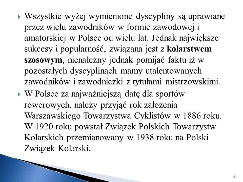  Wszystkie wyżej wymienione dyscypliny są uprawiane przez wielu zawodników w formie zawodowej i amatorskiej w Polsce od wielu lat. Jednak największe