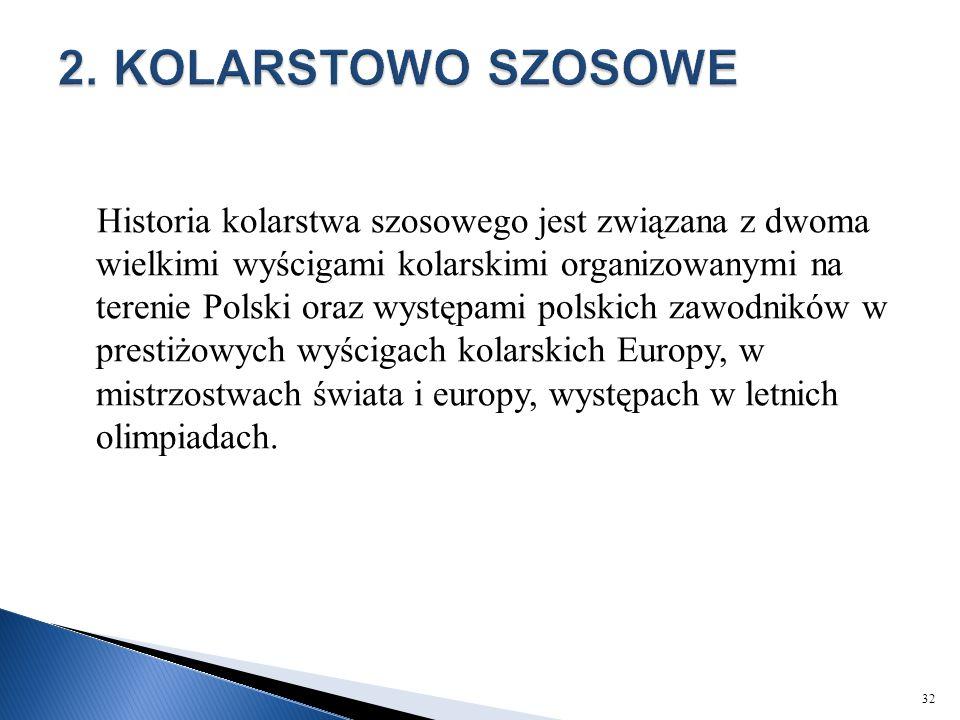 Historia kolarstwa szosowego jest związana z dwoma wielkimi wyścigami kolarskimi organizowanymi na terenie Polski oraz występami polskich zawodników w