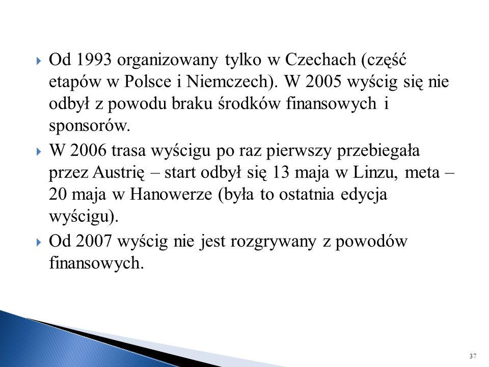  Od 1993 organizowany tylko w Czechach (część etapów w Polsce i Niemczech). W 2005 wyścig się nie odbył z powodu braku środków finansowych i sponsoró