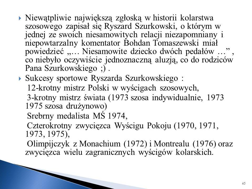  Niewątpliwie największą zgłoską w historii kolarstwa szosowego zapisał się Ryszard Szurkowski, o którym w jednej ze swoich niesamowitych relacji nie
