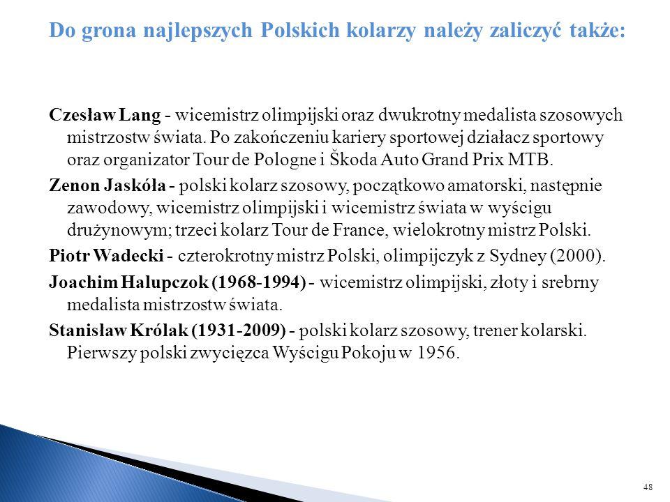 Do grona najlepszych Polskich kolarzy należy zaliczyć także: Czesław Lang - wicemistrz olimpijski oraz dwukrotny medalista szosowych mistrzostw świata