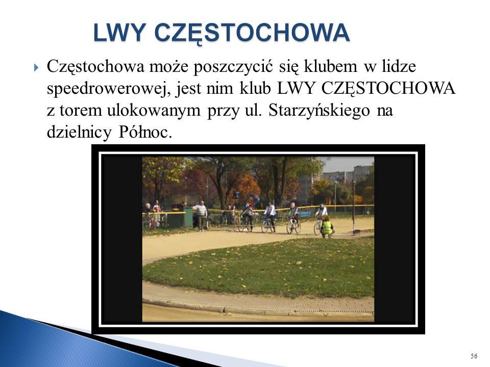  Częstochowa może poszczycić się klubem w lidze speedrowerowej, jest nim klub LWY CZĘSTOCHOWA z torem ulokowanym przy ul. Starzyńskiego na dzielnicy