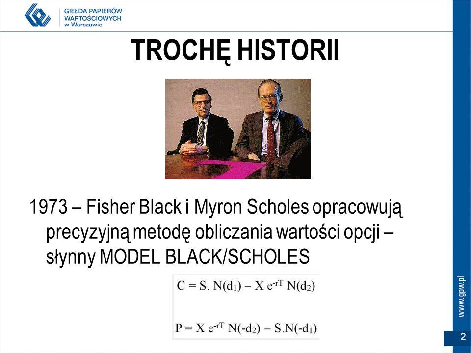 TROCHĘ HISTORII 1973 – Fisher Black i Myron Scholes opracowują precyzyjną metodę obliczania wartości opcji – słynny MODEL BLACK/SCHOLES 2
