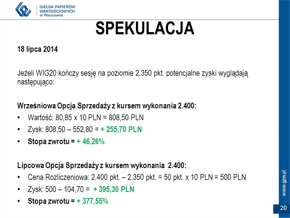 SPEKULACJA 18 lipca 2014 Jeżeli WIG20 kończy sesję na poziomie 2.350 pkt.