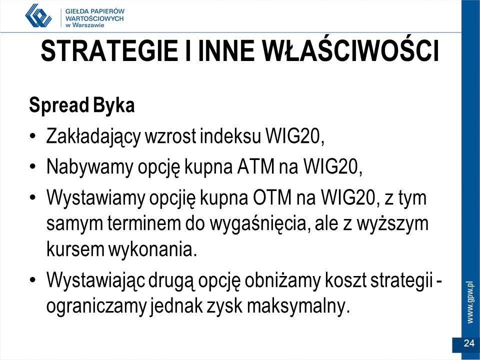 STRATEGIE I INNE WŁAŚCIWOŚCI Spread Byka Zakładający wzrost indeksu WIG20, Nabywamy opcję kupna ATM na WIG20, Wystawiamy opcjię kupna OTM na WIG20, z tym samym terminem do wygaśnięcia, ale z wyższym kursem wykonania.