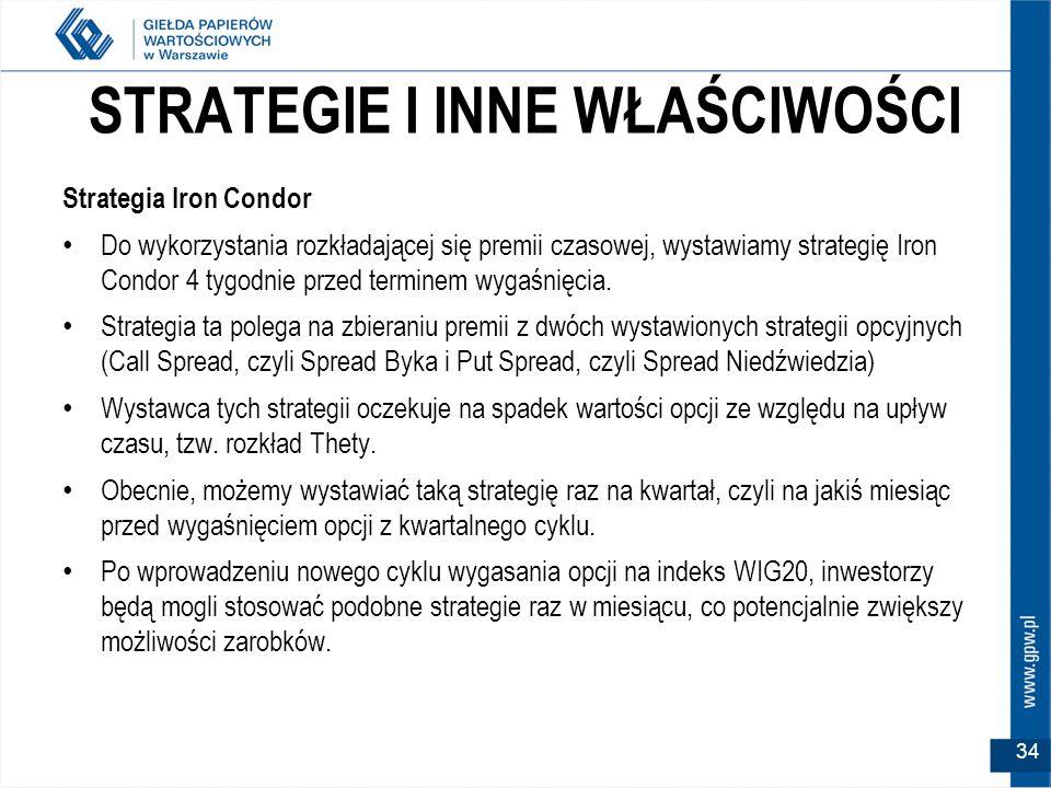 STRATEGIE I INNE WŁAŚCIWOŚCI Strategia Iron Condor Do wykorzystania rozkładającej się premii czasowej, wystawiamy strategię Iron Condor 4 tygodnie przed terminem wygaśnięcia.