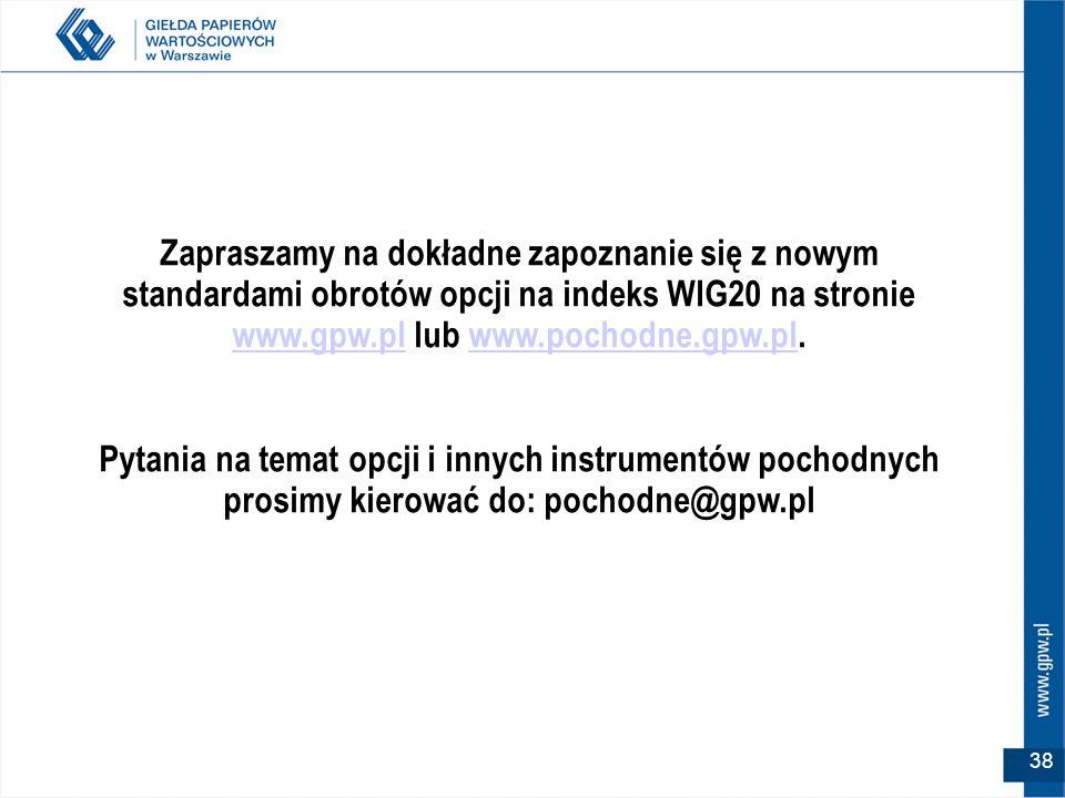 Zapraszamy na dokładne zapoznanie się z nowym standardami obrotów opcji na indeks WIG20 na stronie www.gpw.pl lub www.pochodne.gpw.pl.