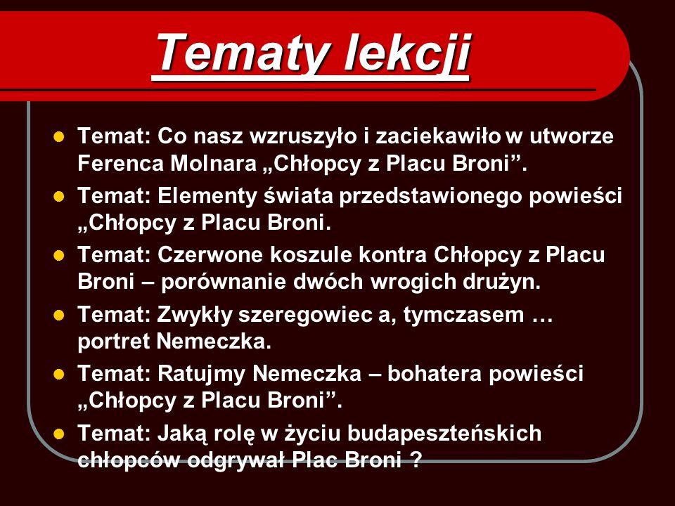 """Tematy lekcji Temat: Co nasz wzruszyło i zaciekawiło w utworze Ferenca Molnara """"Chłopcy z Placu Broni"""". Temat: Elementy świata przedstawionego powieśc"""