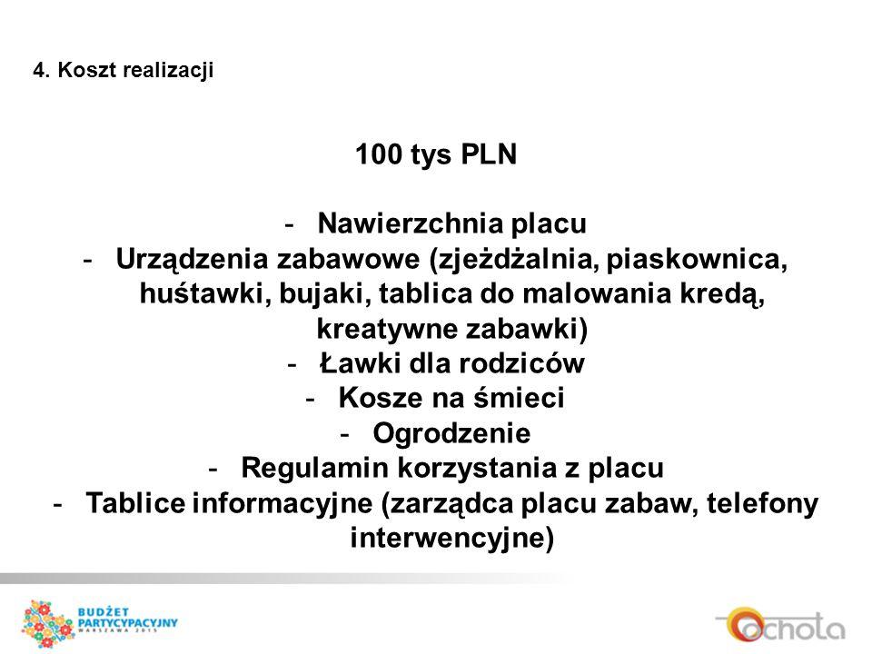 4. Koszt realizacji 100 tys PLN -Nawierzchnia placu -Urządzenia zabawowe (zjeżdżalnia, piaskownica, huśtawki, bujaki, tablica do malowania kredą, krea