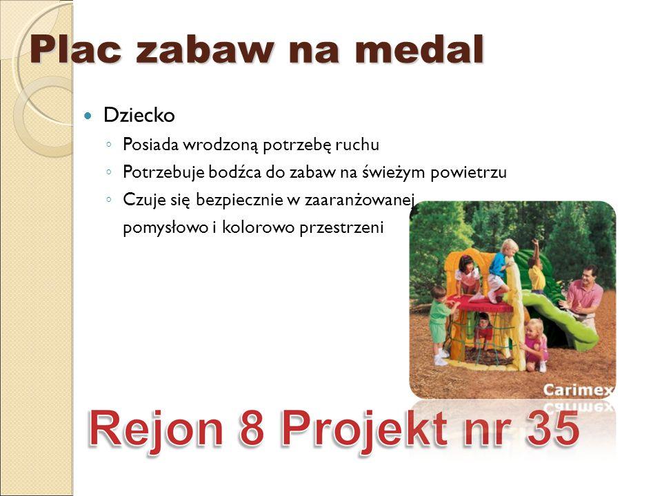 Plac zabaw na medal Dziecko ◦ Posiada wrodzoną potrzebę ruchu ◦ Potrzebuje bodźca do zabaw na świeżym powietrzu ◦ Czuje się bezpiecznie w zaaranżowanej pomysłowo i kolorowo przestrzeni