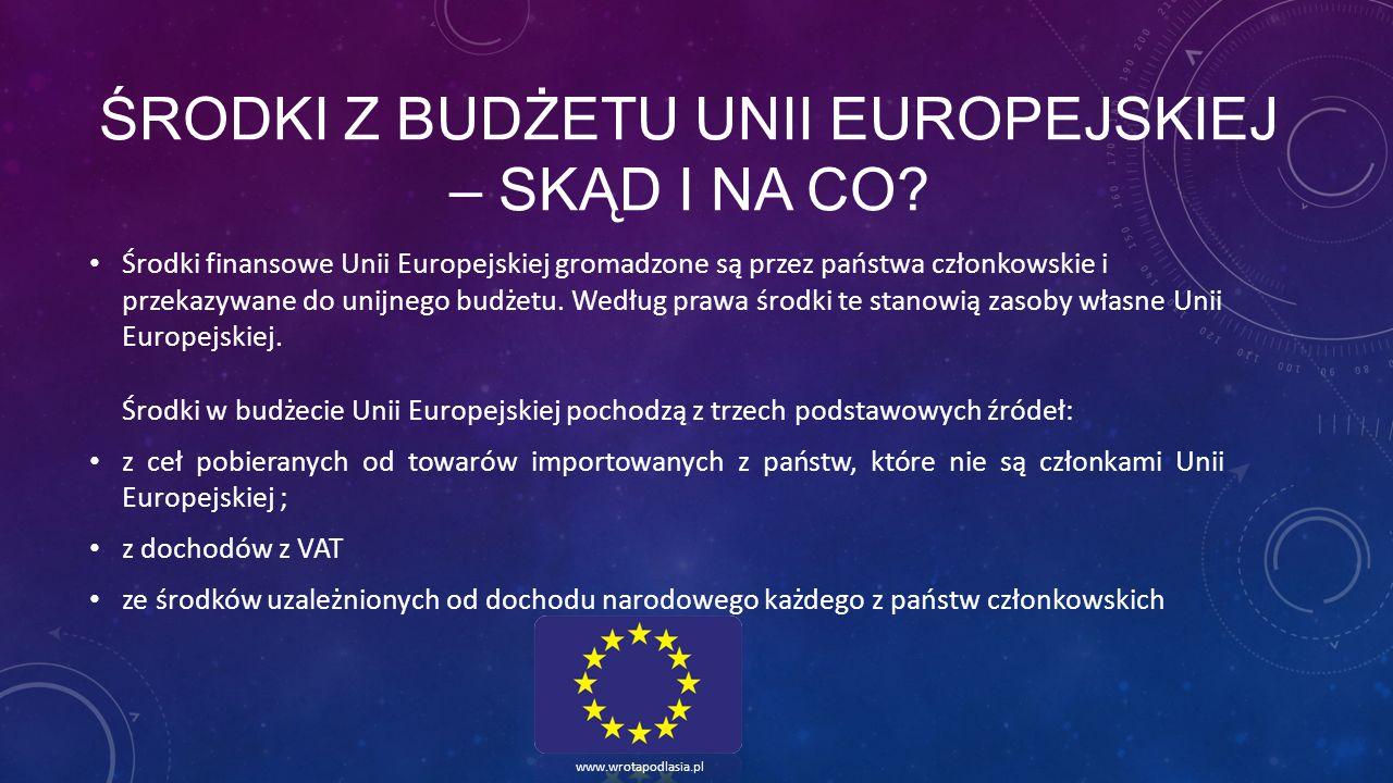 ŚRODKI Z BUDŻETU UNII EUROPEJSKIEJ – SKĄD I NA CO? Środki finansowe Unii Europejskiej gromadzone są przez państwa członkowskie i przekazywane do unijn