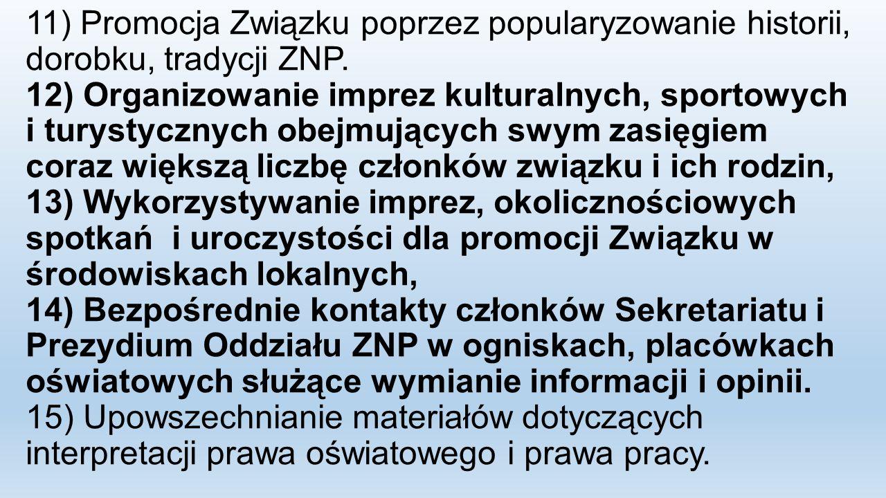 11) Promocja Związku poprzez popularyzowanie historii, dorobku, tradycji ZNP. 12) Organizowanie imprez kulturalnych, sportowych i turystycznych obejmu