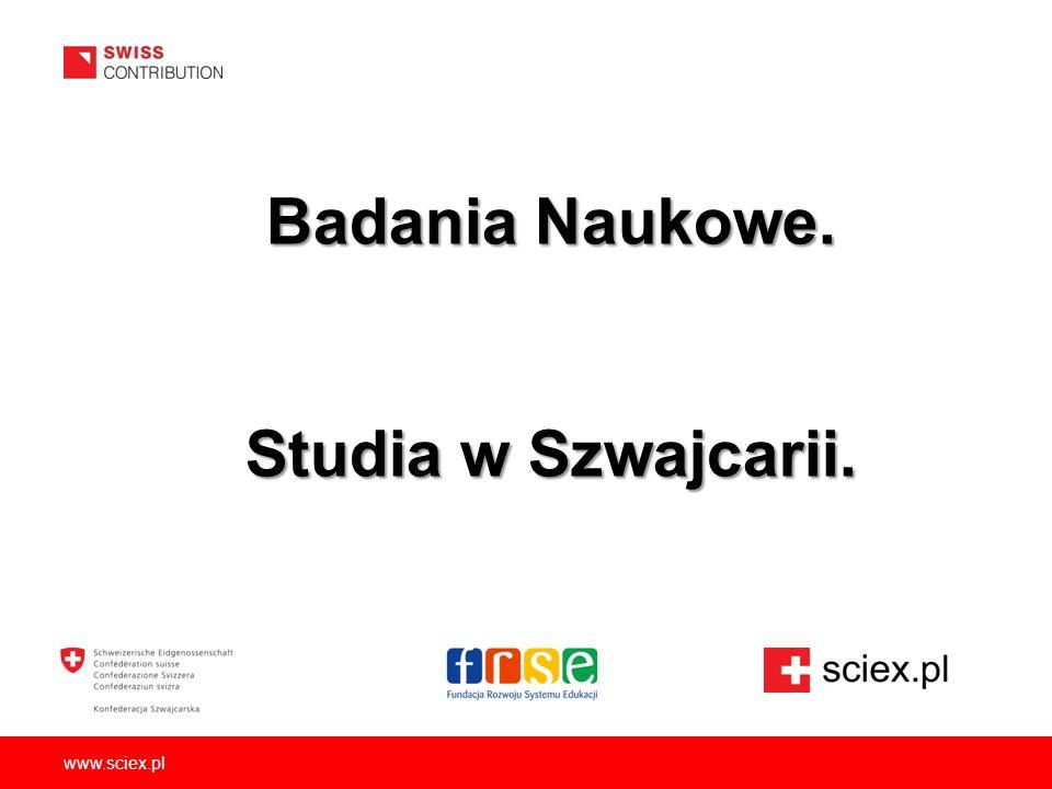 www.sciex.pl Badania Naukowe. Studia w Szwajcarii.
