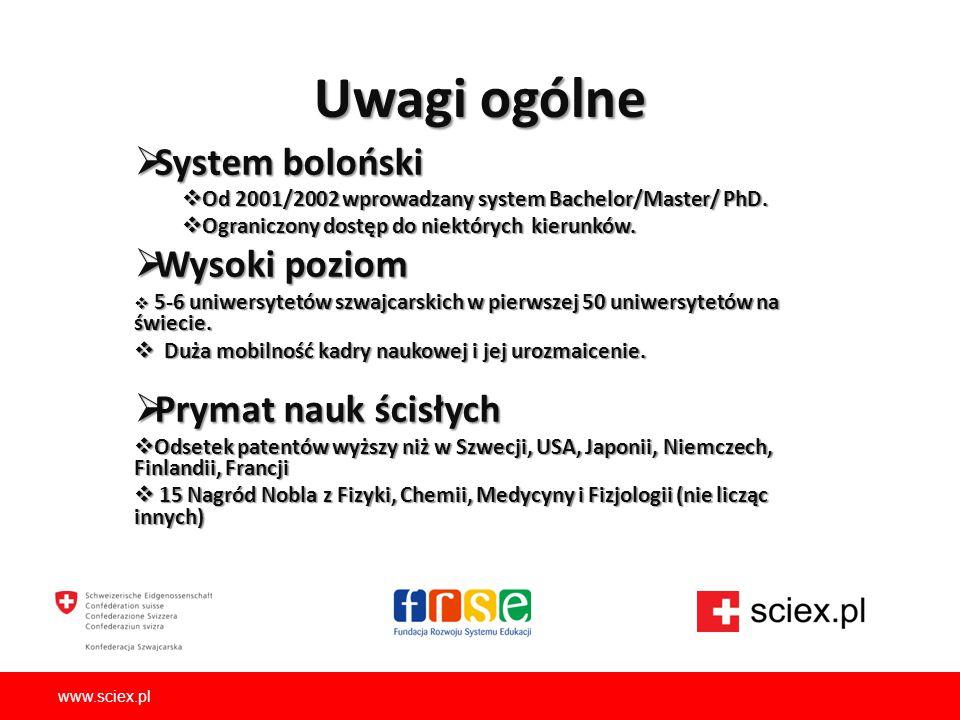 Uwagi ogólne  System boloński  Od 2001/2002 wprowadzany system Bachelor/Master/ PhD.  Ograniczony dostęp do niektórych kierunków.  Wysoki poziom 