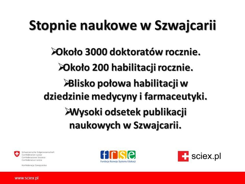 Stopnie naukowe w Szwajcarii  Około 3000 doktoratów rocznie.  Około 200 habilitacji rocznie.  Blisko połowa habilitacji w dziedzinie medycyny i far