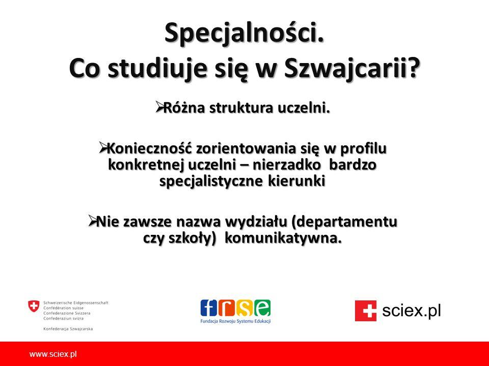 Specjalności. Co studiuje się w Szwajcarii?  Różna struktura uczelni.  Konieczność zorientowania się w profilu konkretnej uczelni – nierzadko bardzo