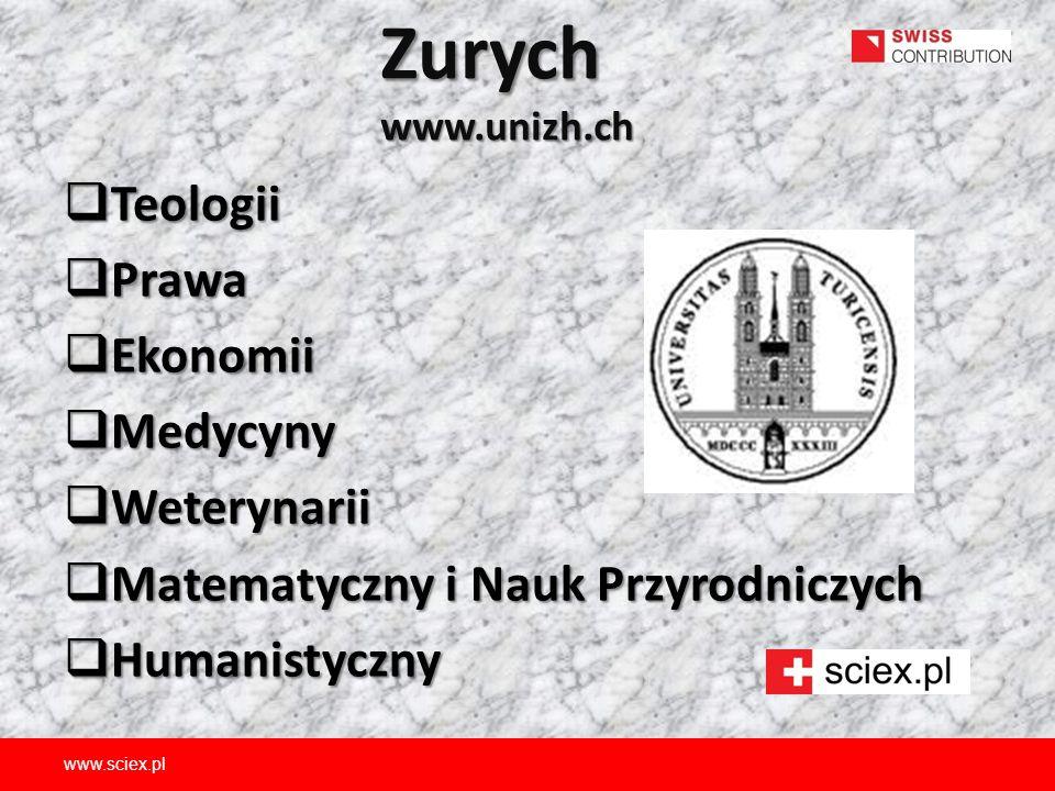 Zurych www.unizh.ch  Teologii  Prawa  Ekonomii  Medycyny  Weterynarii  Matematyczny i Nauk Przyrodniczych  Humanistyczny www.sciex.pl