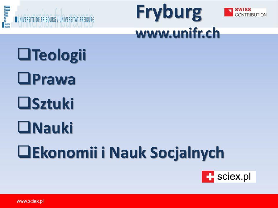 Fryburg www.unifr.ch  Teologii  Prawa  Sztuki  Nauki  Ekonomii i Nauk Socjalnych www.sciex.pl