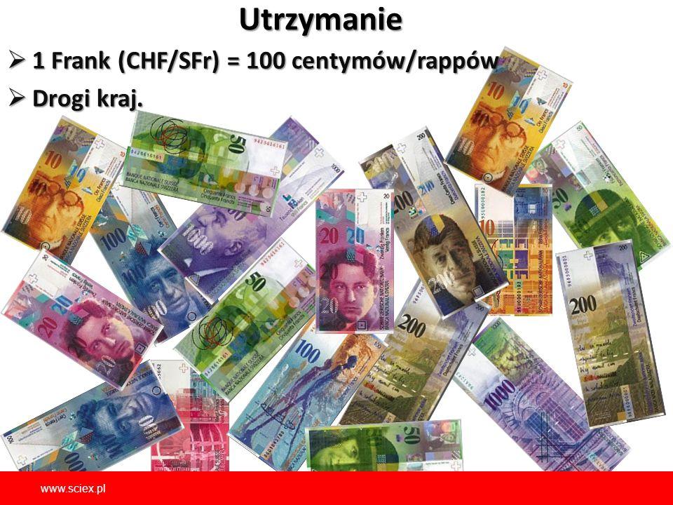 Utrzymanie  1 Frank (CHF/SFr) = 100 centymów/rappów  Drogi kraj.