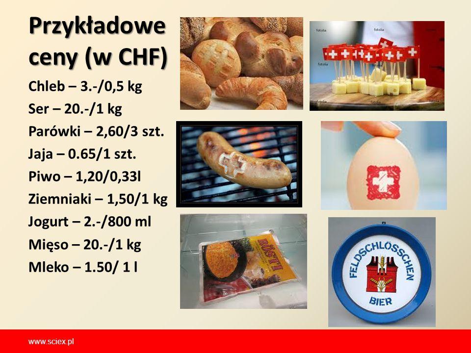 Przykładowe ceny (w CHF) Chleb – 3.-/0,5 kg Ser – 20.-/1 kg Parówki – 2,60/3 szt. Jaja – 0.65/1 szt. Piwo – 1,20/0,33l Ziemniaki – 1,50/1 kg Jogurt –