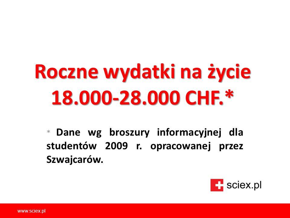 www.sciex.pl Roczne wydatki na życie 18.000-28.000 CHF.* * Dane wg broszury informacyjnej dla studentów 2009 r. opracowanej przez Szwajcarów.