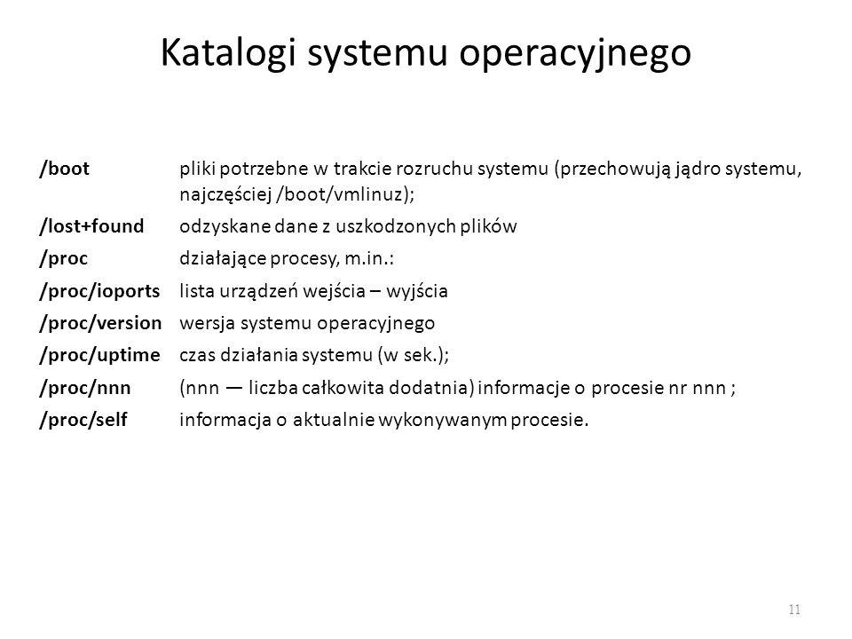 Katalogi systemu operacyjnego 11 /bootpliki potrzebne w trakcie rozruchu systemu (przechowują jądro systemu, najczęściej /boot/vmlinuz); /lost+foundod