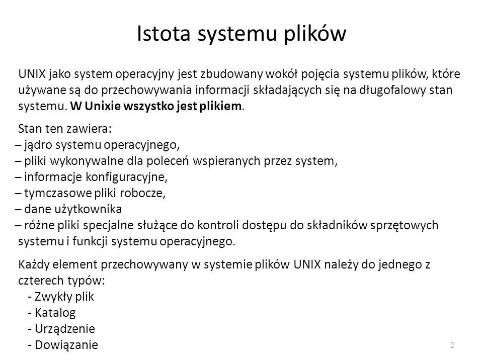 Istota systemu plików 2 UNIX jako system operacyjny jest zbudowany wokół pojęcia systemu plików, które używane są do przechowywania informacji składaj