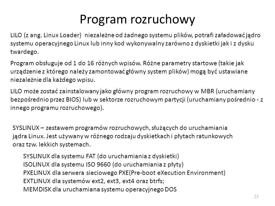 Program rozruchowy 23 LILO (z ang. Linux Loader) niezależne od żadnego systemu plików, potrafi załadować jądro systemu operacyjnego Linux lub inny kod