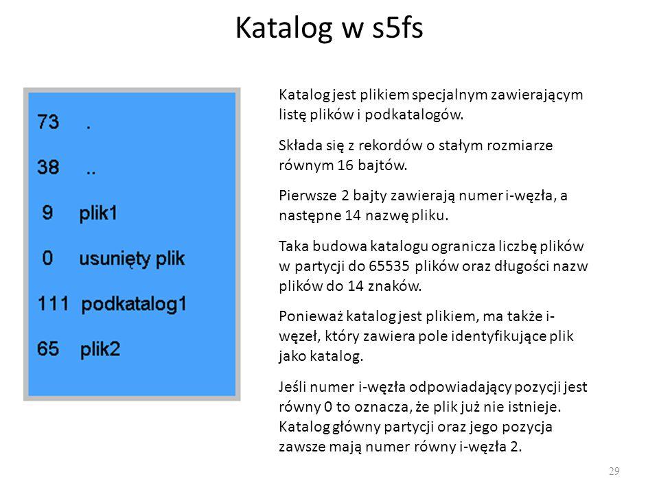 Katalog w s5fs 29 Katalog jest plikiem specjalnym zawierającym listę plików i podkatalogów. Składa się z rekordów o stałym rozmiarze równym 16 bajtów.