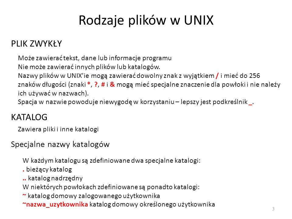 Rodzaje plików w UNIX 3 PLIK ZWYKŁY Może zawierać tekst, dane lub informacje programu Nie może zawierać innych plików lub katalogów. Nazwy plików w UN