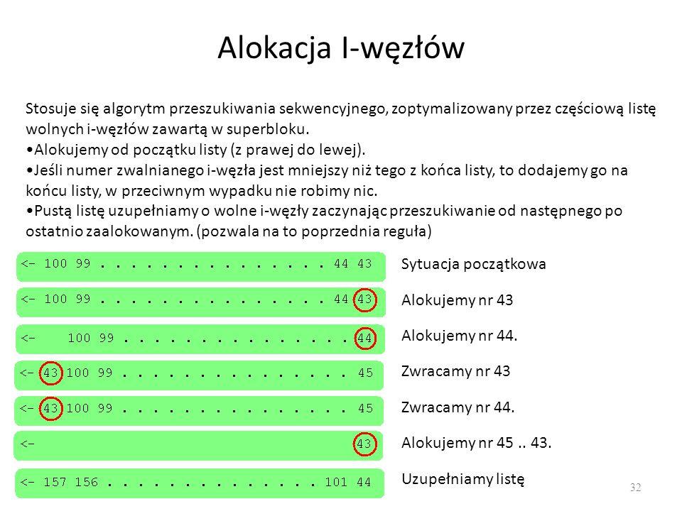 Alokacja I-węzłów 32 Stosuje się algorytm przeszukiwania sekwencyjnego, zoptymalizowany przez częściową listę wolnych i-węzłów zawartą w superbloku. A
