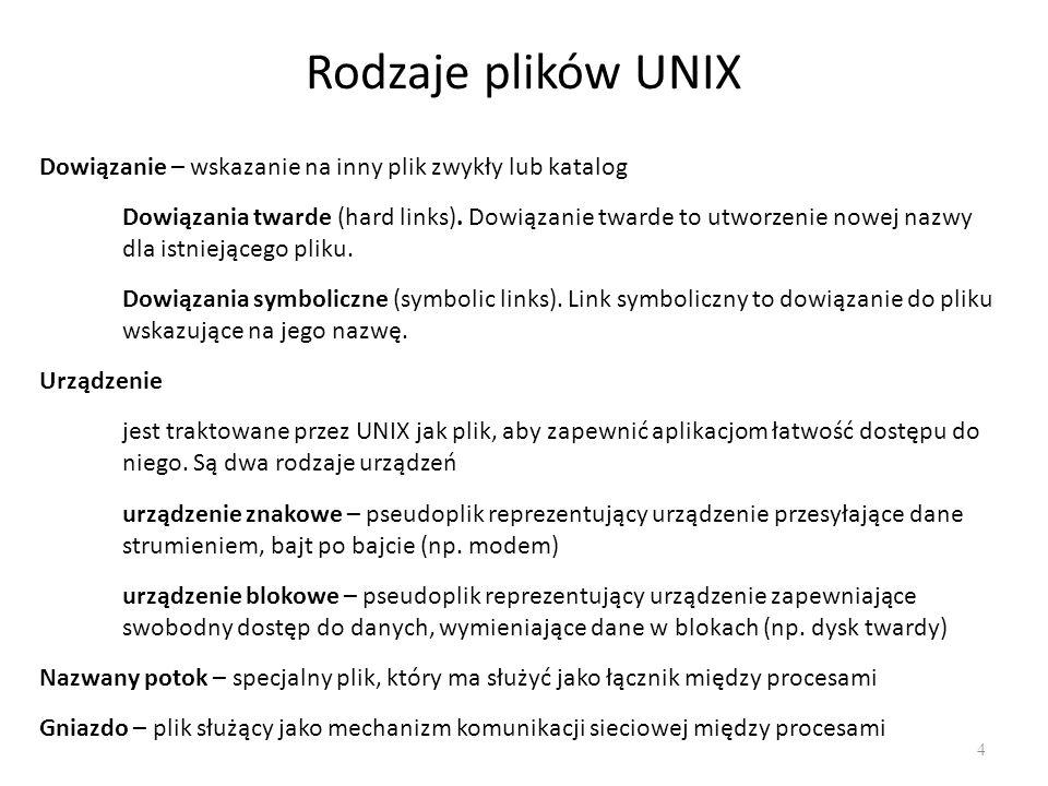 Rodzaje plików UNIX 4 Dowiązanie – wskazanie na inny plik zwykły lub katalog Dowiązania twarde (hard links). Dowiązanie twarde to utworzenie nowej naz