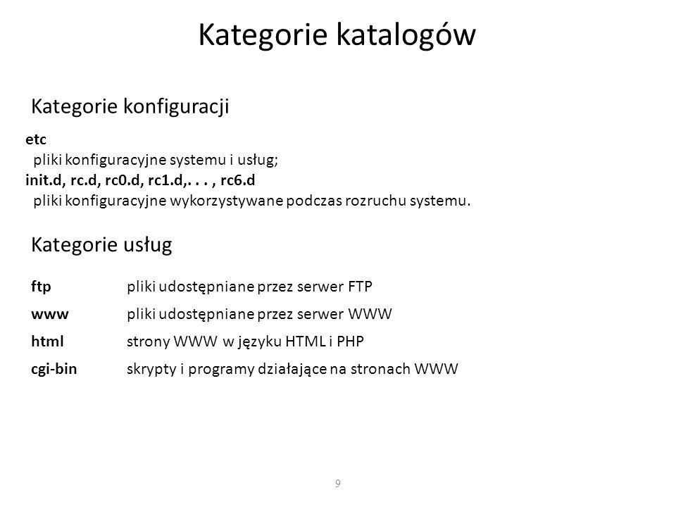 9 Kategorie katalogów Kategorie konfiguracji Kategorie usług ftppliki udostępniane przez serwer FTP wwwpliki udostępniane przez serwer WWW htmlstrony