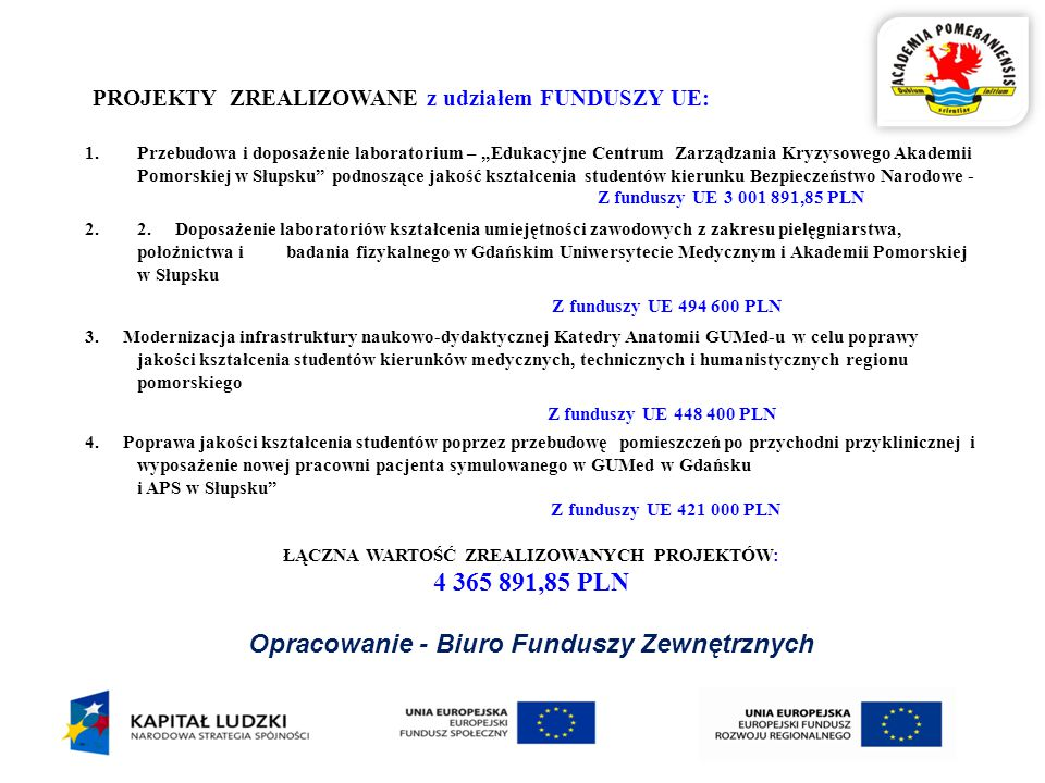 """1.Przebudowa i doposażenie laboratorium – """"Edukacyjne Centrum Zarządzania Kryzysowego Akademii Pomorskiej w Słupsku podnoszące jakość kształcenia studentów kierunku Bezpieczeństwo Narodowe - Z funduszy UE 3 001 891,85 PLN 2.2."""