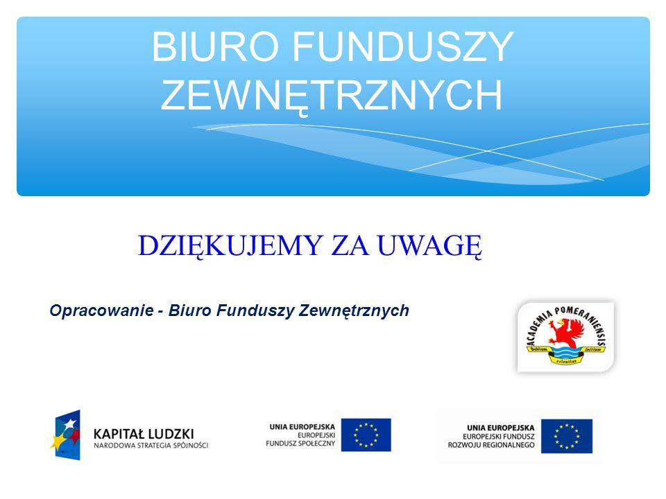 BIURO FUNDUSZY ZEWNĘTRZNYCH DZIĘKUJEMY ZA UWAGĘ Opracowanie - Biuro Funduszy Zewnętrznych