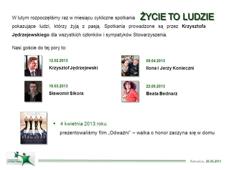 Katowice, 20.06.2013 W lutym rozpoczęliśmy raz w miesiącu cykliczne spotkania pokazujące ludzi, którzy żyją z pasją. Spotkania prowadzone są przez Krz