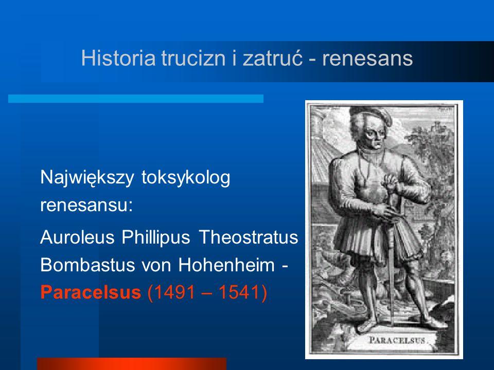 Historia trucizn i zatruć - renesans Największy toksykolog renesansu: Auroleus Phillipus Theostratus Bombastus von Hohenheim - Paracelsus (1491 – 1541