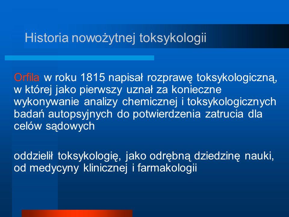 Historia nowożytnej toksykologii Orfila w roku 1815 napisał rozprawę toksykologiczną, w której jako pierwszy uznał za konieczne wykonywanie analizy ch