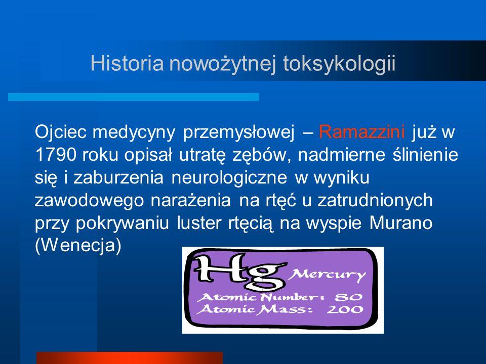 Historia nowożytnej toksykologii Ojciec medycyny przemysłowej – Ramazzini już w 1790 roku opisał utratę zębów, nadmierne ślinienie się i zaburzenia ne