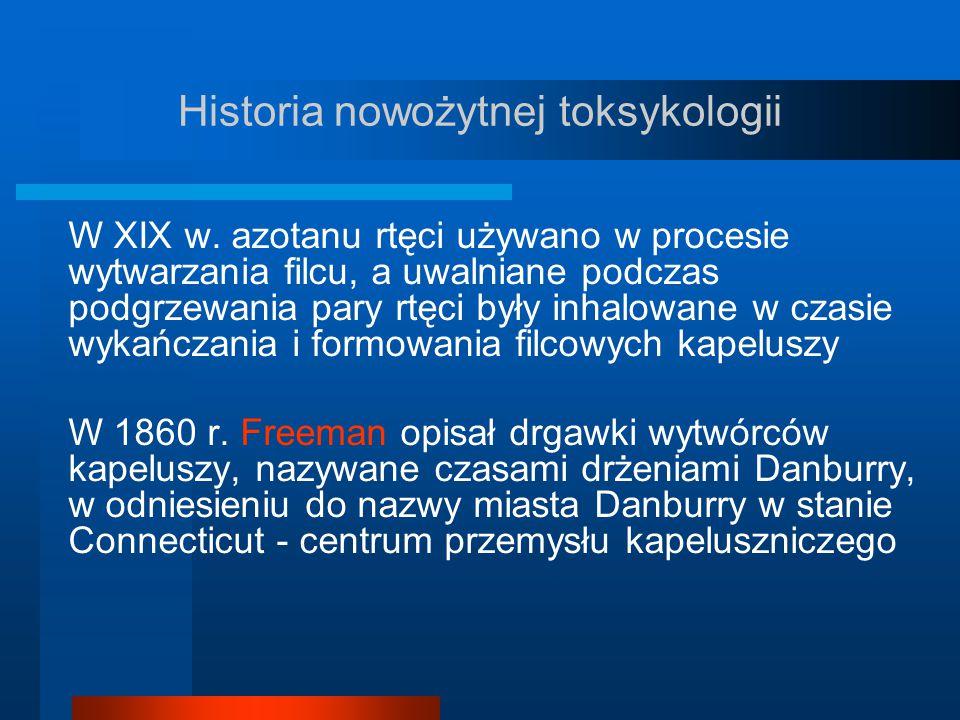Historia nowożytnej toksykologii W XIX w. azotanu rtęci używano w procesie wytwarzania filcu, a uwalniane podczas podgrzewania pary rtęci były inhalow