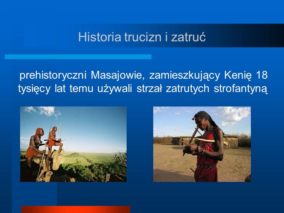Historia trucizn i zatruć prehistoryczni Masajowie, zamieszkujący Kenię 18 tysięcy lat temu używali strzał zatrutych strofantyną