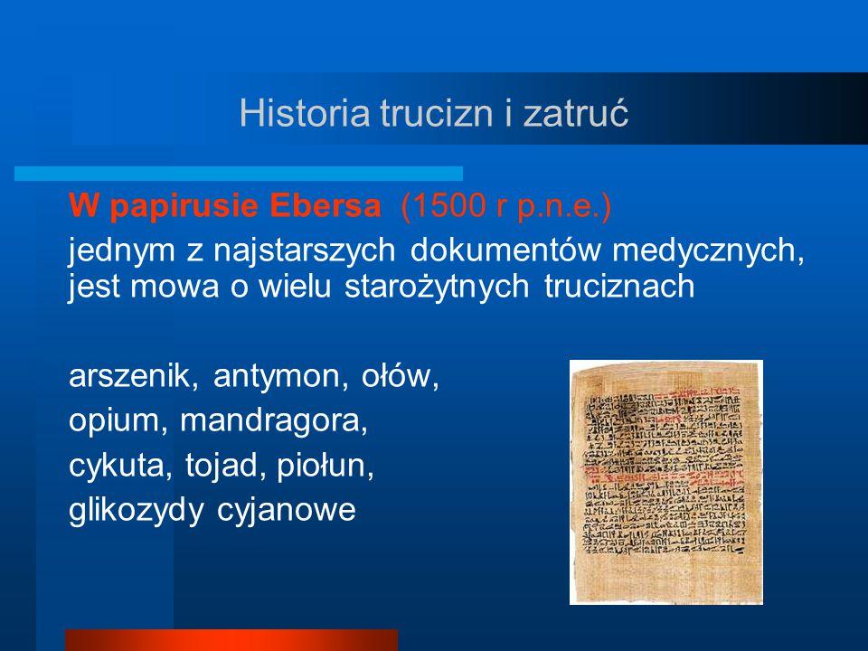 Historia trucizn i zatruć Odyseja Homera (około 850 lat p.n.e.) Ulisses maczał końcówki strzał w jadzie węża oraz w wyciągach roślin zawierających glikozydy nasercowe Arystoteles (384 – 322 lat p.n.e.) wspomina o strzałach zatruwanych przez Scytian Owidiusz (43 lat p.n.e.