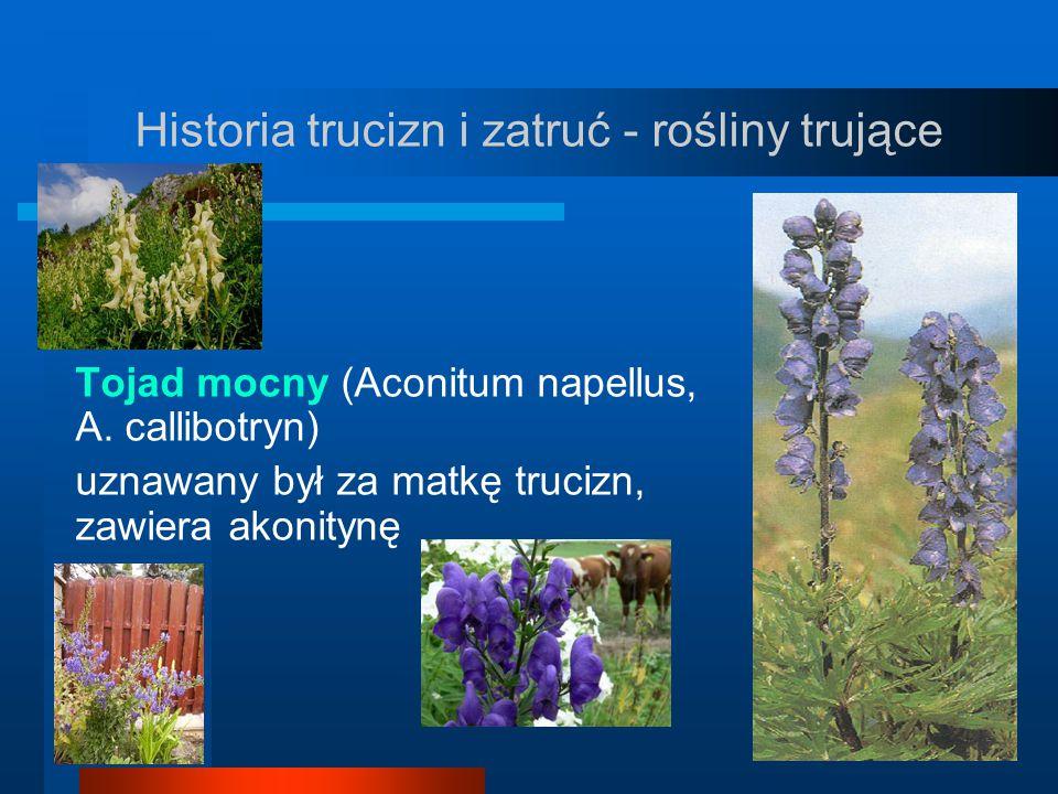 Historia trucizn i zatruć - rośliny trujące Tojad mocny (Aconitum napellus, A. callibotryn) uznawany był za matkę trucizn, zawiera akonitynę