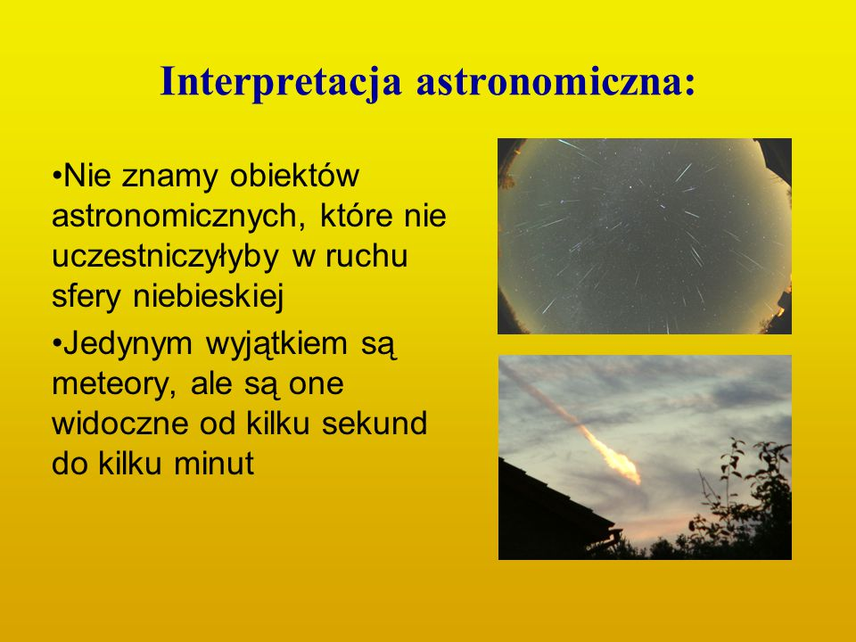 Interpretacja astronomiczna: Nie znamy obiektów astronomicznych, które nie uczestniczyłyby w ruchu sfery niebieskiej Jedynym wyjątkiem są meteory, ale
