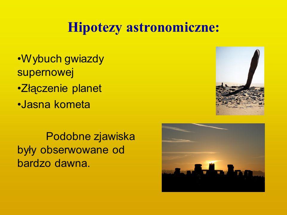 Hipotezy astronomiczne: Wybuch gwiazdy supernowej Złączenie planet Jasna kometa Podobne zjawiska były obserwowane od bardzo dawna.