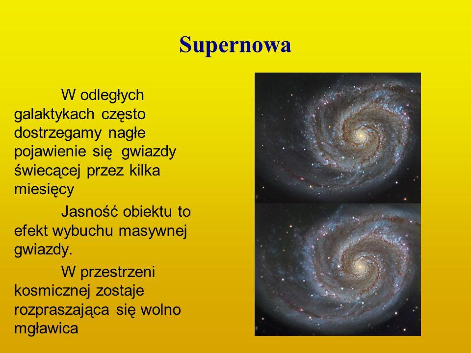 Supernowa W odległych galaktykach często dostrzegamy nagłe pojawienie się gwiazdy świecącej przez kilka miesięcy Jasność obiektu to efekt wybuchu masy