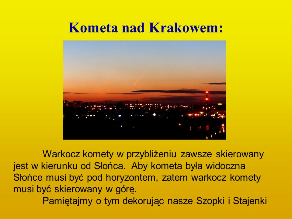 Kometa nad Krakowem: Warkocz komety w przybliżeniu zawsze skierowany jest w kierunku od Słońca. Aby kometa była widoczna Słońce musi być pod horyzonte