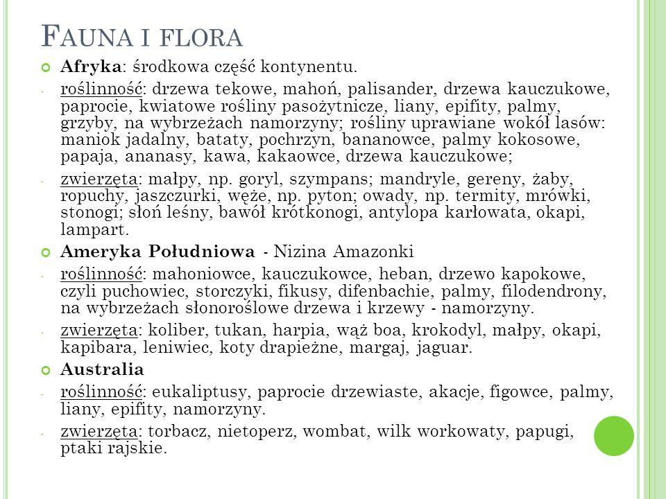 F AUNA I FLORA Afryka : środkowa część kontynentu.