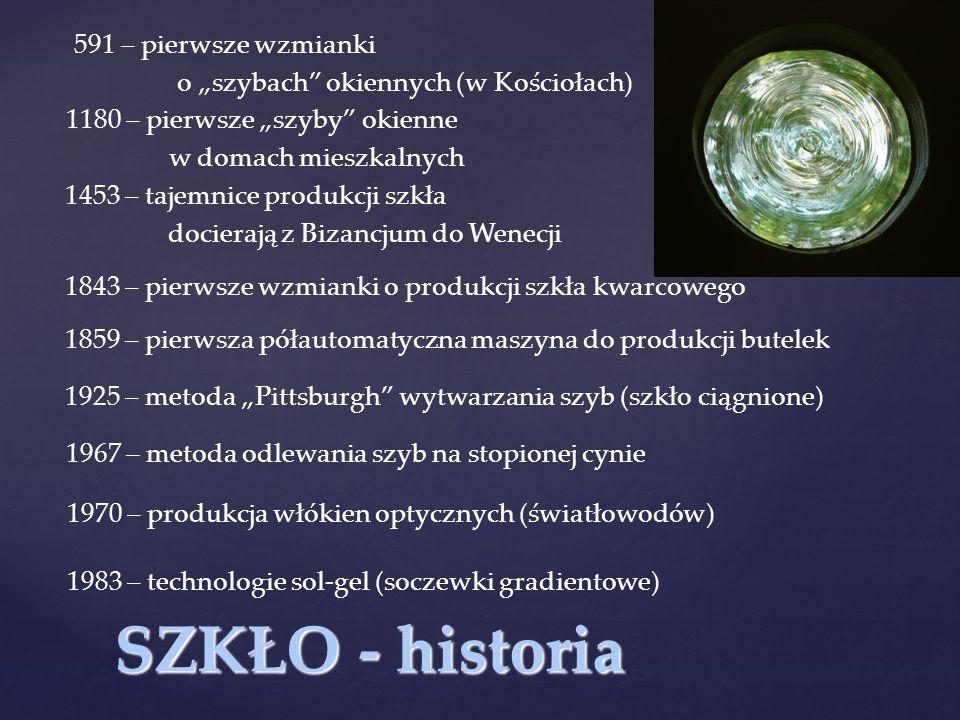"""SZKŁO - historia 591 – pierwsze wzmianki o """"szybach"""" okiennych (w Kościołach) 1180 – pierwsze """"szyby"""" okienne w domach mieszkalnych 1453 – tajemnice p"""